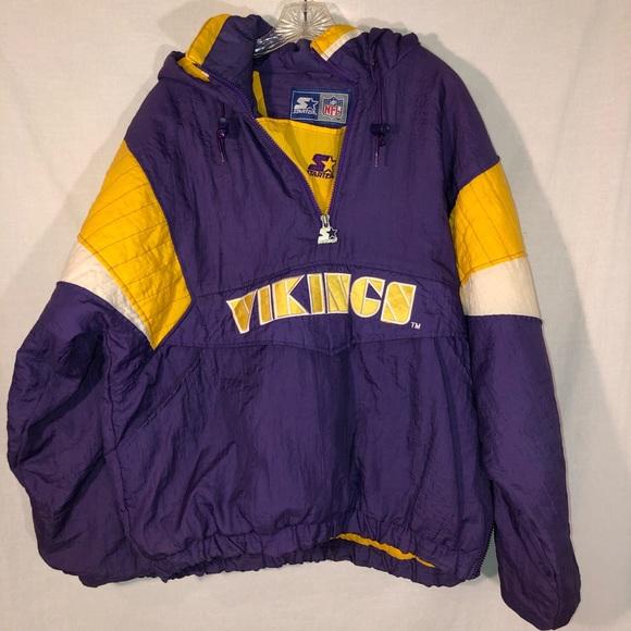 official photos a7a5e d160c Men's Vintage Vikings Starter Pullover Jacket M